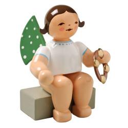 Brunette Angel Tambourine Figurine Wendt Kuhn Sitting FGW650X57A-DK