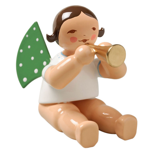 Sitting Brunette Angel Small Horn Figurine Wendt Kuhn FGW650X3A-DK