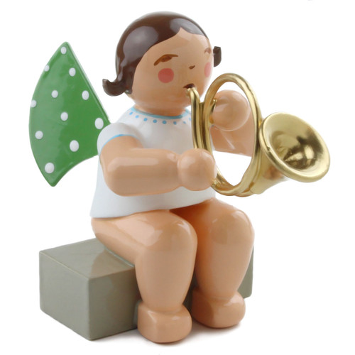 Wendt Kuhn Brunette Angel French Horn Figurine Sit FGW650X13X6FH-DK