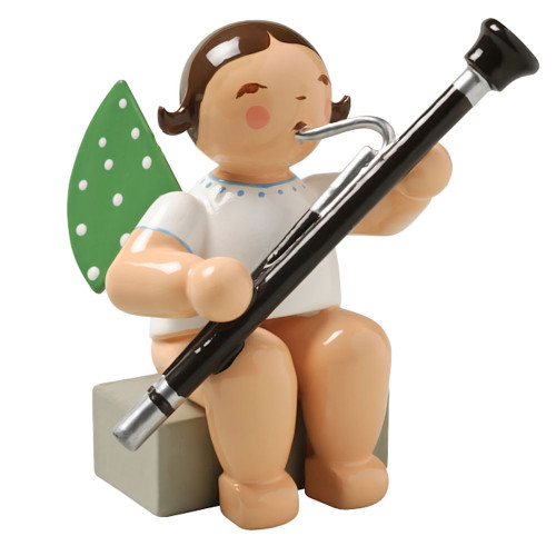 Brunette Angel Bassoon Figurine Wendt Kuhn Sitting FGW650X43A-DK