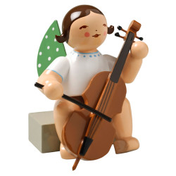Brunette Angel Cello Figurine Wendt Kuhn Sitting FGW650X7A-DK