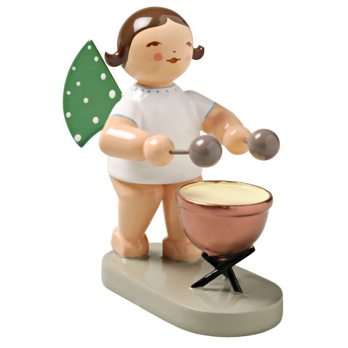 Wendt Kuhn Brunette Angel Kettledrum Figurine FGW650X22-DK