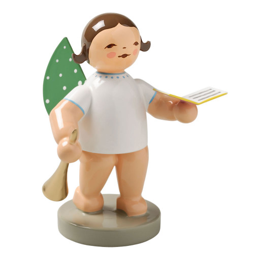 Wendt Kuehn Brunette Angel Songbook Horn Figurine FGW650X19-DK