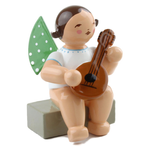 Brunette Angel Mandolin Figurine Wendt Kuhn Sitting FGW650X4A-DK