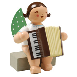 Brunette Angel Accordion Figurine Wendt Kuhn Sitting FGW650X48A-DK