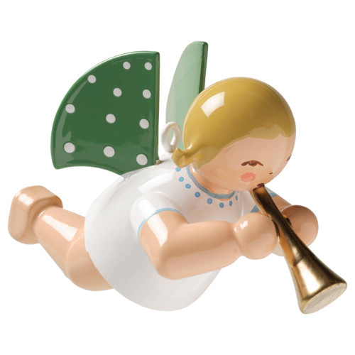 WENDT & KÜHN Blonde Flying Angel Playing Horn Ornament