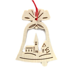Wooden Bell Town Christmas German Ornament ORR113X05