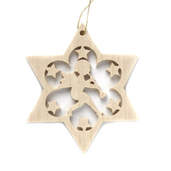 Wooden Angel Star Christmas German Ornament ORR113X06