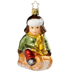 Boy on Sled Christmas Glass German Ornament ORGA0053X15
