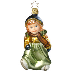 Girl with Skates Christmas Glass German Ornament ORGA052X15
