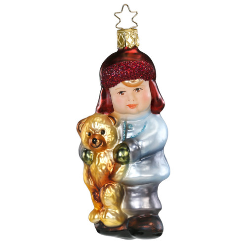Boy with Teddy Bear Christmas Glass German Ornament ORGA028X16