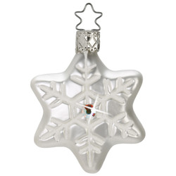 White Snowflake Christmas Glass German Ornament ORGA080X11W