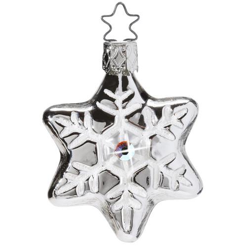 Silver Snowflake Christmas Glass German Ornament ORGA080X11S