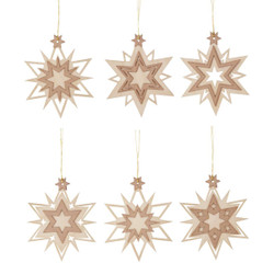 Six Snowflakes Wooden German Ornaments ORD199X326