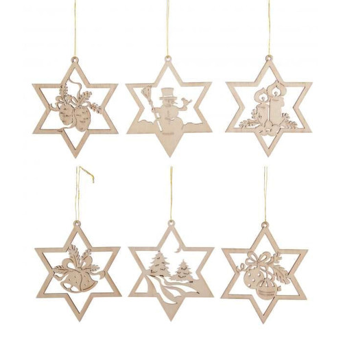 Six Stars Wooden German Ornaments ORD199X374