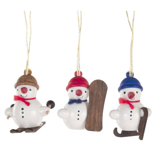 Three Tiny Winter Sports Snowmen Wooden German Ornaments ORD199X409X7