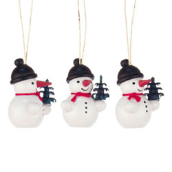 Three Tiny Snowmen Tree Wooden German Ornaments ORD199X409X8