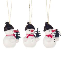 Three Tiny Snowmen Tree Wooden German Ornaments ORD199X409X8