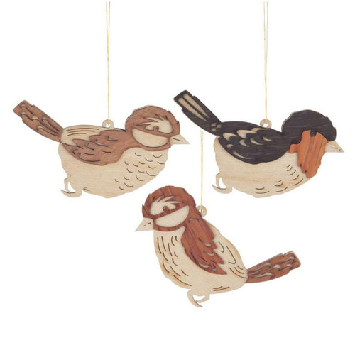 Set Three Wooden Natural Bird Cut Out German Ornaments ORD198X131