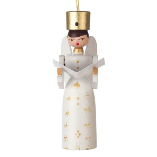 White Singing Angel German Ornament ORD198X003E