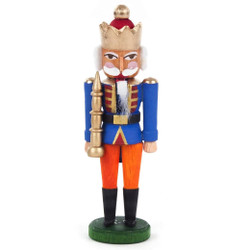 Mini Nutcracker King Blue Gold Crown NCD074X035BL