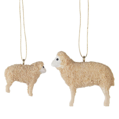 Sheep Hand Carved Set 2 Ornaments ORD199X434