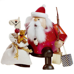 Sitting Santa with Toy Sack German Smoker SMK216X08