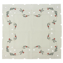Christmas Poinsettia German Linen Table Cloth LNWKAR85X85