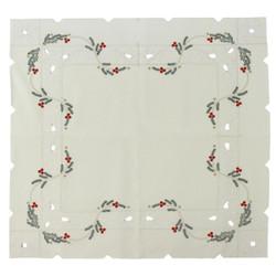 Christmas Poinsettia German Linen Table Cloth LNWKAR85X85