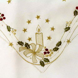 German Linen Holiday Candle Holly Christmas LNKZAUB85X85