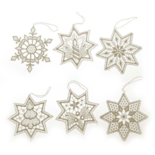 Six Lace German Star Ornaments ORXLACESTARS