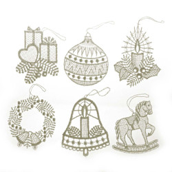 Six German Lace Christmas Ornaments ORXLACECHR