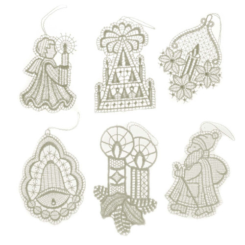 Six Lace Christmas German Ornaments ORXLACESET