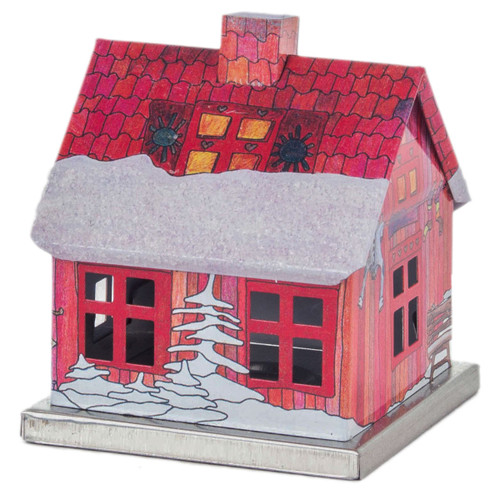 METAL MINIATURE Red Log Cabin German Smoker SMD146X202040