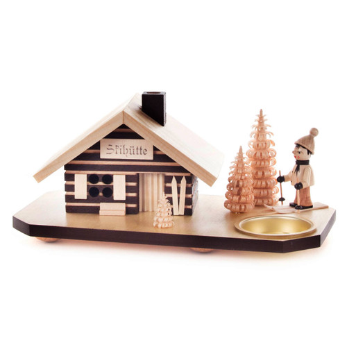 Ski Hut Log Cabin German Candleholder Smoker SMD146X1571