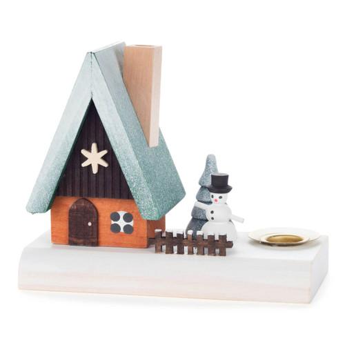 Snowman Cabin German Candleholder Smoker SMD146X1026