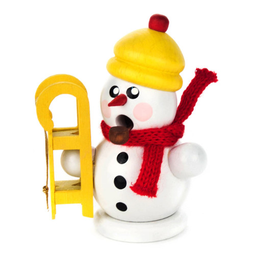 Mini Snowman Christmas Sled German Smoker SMD136X170