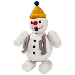 Skiing Snowman German Smoker Figurine