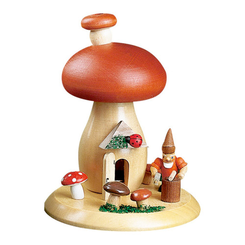 Working Gnome with Red Mushroom House German Smoker 263X03