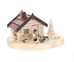 Forest Cabin with Lumberjack and Dog German Tea light Candleholder Smoker SMD146X1586