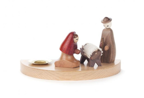 German Nativity Scene Wooden Candleholder CHD200X207G