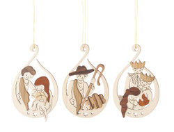 Nativity Birth of Christ Wooden German Set of 3 Christmas Ornaments