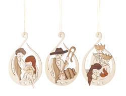 Nativity Birth of Christ Wooden German Set of 3 Christmas Ornaments