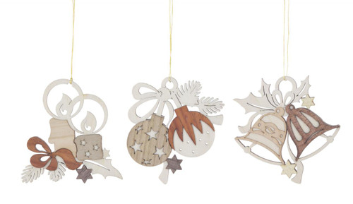 Christmas Theme Set of 3 Wooden Candle Bell German Ornaments ORD199X989