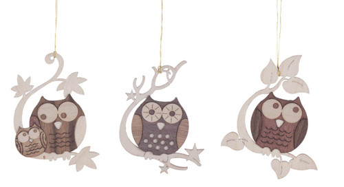 Cut Out Set 3 Perched Owls Wooden German Ornaments ORD198X134