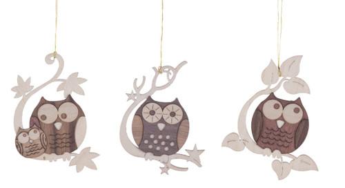 Cut Out Set 3 Perched Owls Wooden German Ornaments ORD198X134