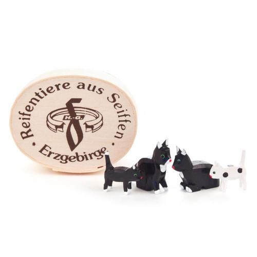 Wooden Mini Kitten Cats German Figurine in Wood Box 4 Piece Set