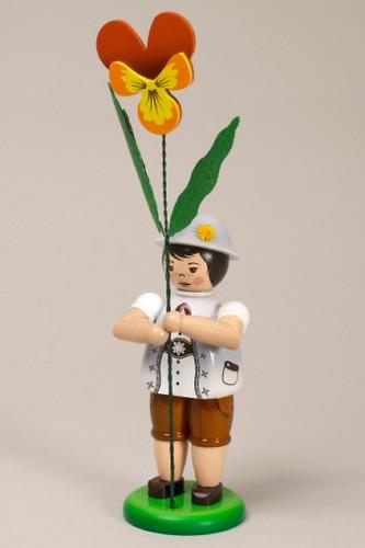 Gray Flower Boy Figurine