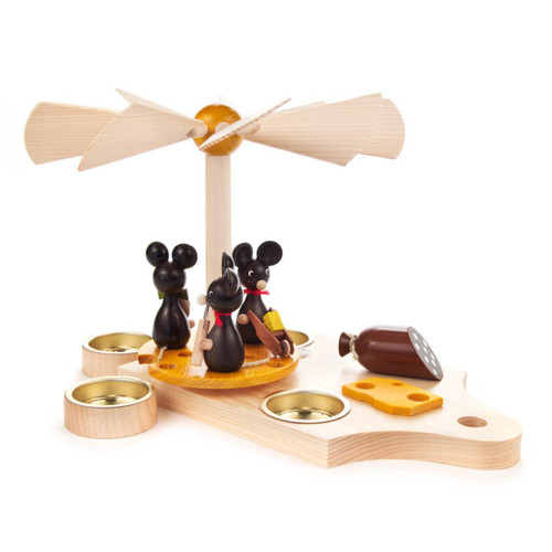 Mice on the Breakfast Board with Cheese German Candle Pyramid PYD085X610