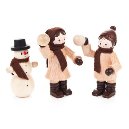 Kids Snowball Fight with Snowman Wooden German Figurine 3 Piece Set FGD232x102x30